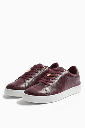 Topshop Womens Cabo Burgundy Lace Up Trainers - Burgundy