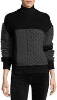 McQ by Alexander McQueen Mixed Cable-Knit Turtleneck Wool Sweater