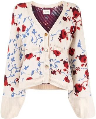 KHAITE Scarlet floral jacquard wool cardigan