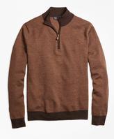 Brooks Brothers Merino Wool Herringbone Half-Zip Sweater