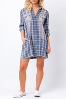 Paper Crane Lydia Blue Plaid Dress