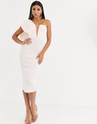 Asos Design DESIGN one shoulder cape back bandeau midi dress with organza insert-Pink