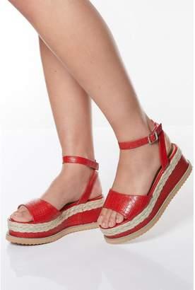 Quiz Red Faux Leather Flatform Sandals