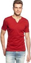 INC International Concepts T-Shirt, Spilt Neck Short Sleeve T-Shirt