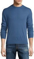 Luciano Barbera Solid Wool Crewneck Sweater, Blue