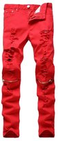 Jinmen Mens Slim Fit Red Ripped Skinny Destroyed Denim Jean