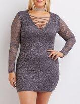 Charlotte Russe Plus Size Lace Lattice Shift Dress