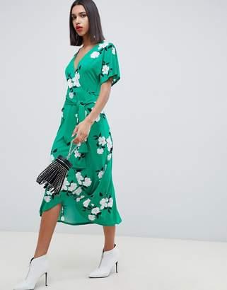 Asos Design DESIGN green floral wrap maxi dress-Multi