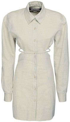 Jacquemus Cotton & Linen Shirt Mini Dress