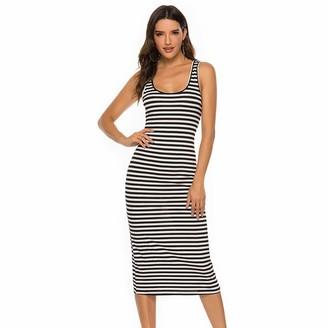 LIGHTBLUE Women Maxi Dress Striped Long Dresses Casual Slim Round Neck Tank Sundress