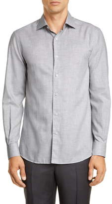 Ermenegildo Zegna Slim Fit Melange Button-Up Shirt