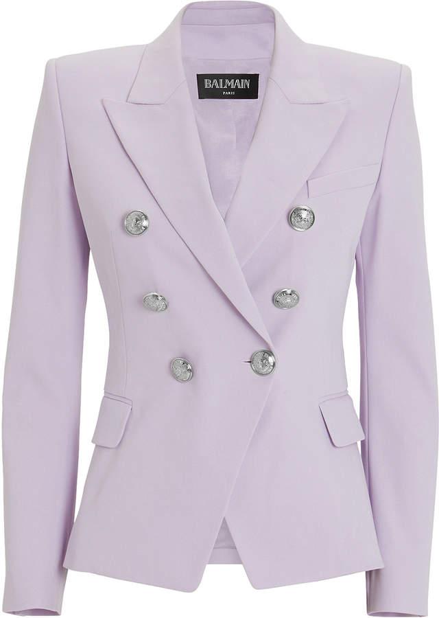 Balmain Lilac Classic Double-Breasted Blazer