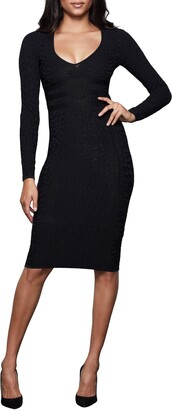 Good American Deep V Leopard Long Sleeve Body-Con Dress