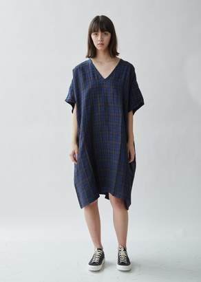 6397 Checked Linen Kaftan