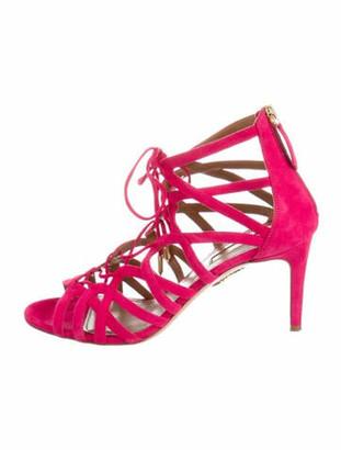 Aquazzura Suede Sandals Pink