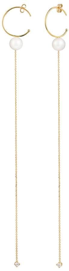 Sweet Pea Pearl And Diamond Chain Hoop Earrings