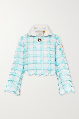 MONCLER GENIUS 8 Richard Quinn Elke Cropped Checked Quilted Shell Down Jacket - Sky blue