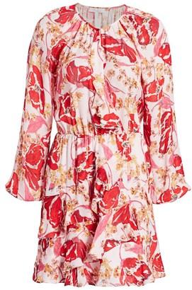 Parker Bertie Floral Silk Ruffle-Trim A-Line Dress