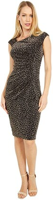 Vince Camuto Metallic Knit Bodycon Dress (Black/Gold) Women's Dress