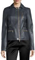 Jason Wu Zip-Pocket Lamb Leather Field Jacket, Charcoal