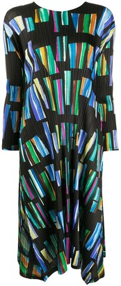 Pleats Please Issey Miyake relaxed-fit geometric-print dress