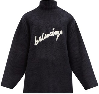 Balenciaga Embroidered-logo Rib-knitted Cotton-blend Sweater - Navy