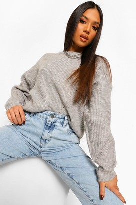 boohoo Petite Knitted Pointelle Detail Jumper