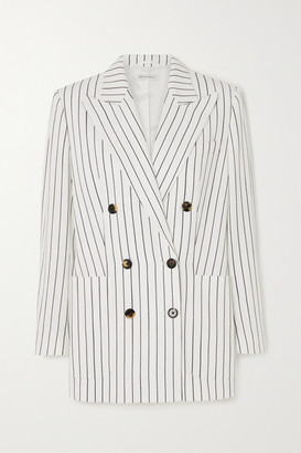 Bella Freud Bianca Double-breasted Pinstriped Woven Blazer - White