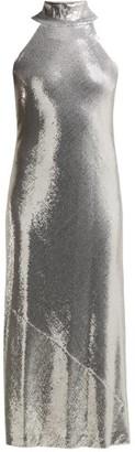 Galvan Daniela Sequinned Halterneck Midi Dress - Silver