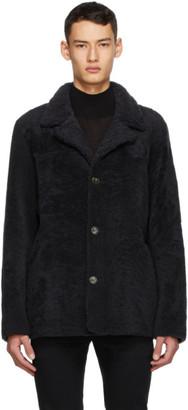 Yves Salomon Reversible Grey Shearling Coat