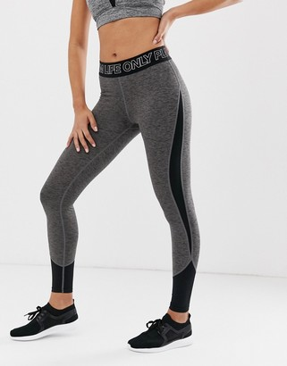 Only Play training tights with waistband in black-Grey