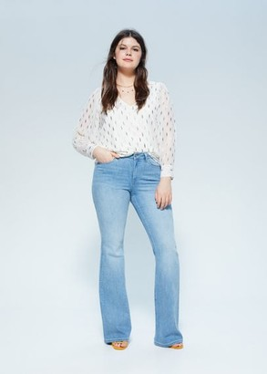 MANGO Violeta BY Flowy printed blouse off white - 10 - Plus sizes