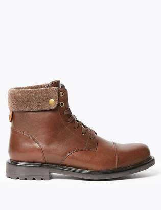 Marks and Spencer Leather Felt Collar Toe Cap Casual Boots