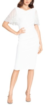 Betsy & Adam Mesh-Sleeve Sheath Dress
