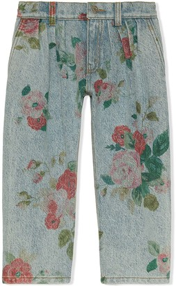 Gucci Kids Floral Print Jeans