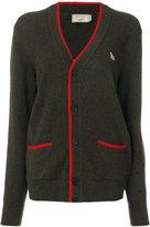 MAISON KITSUNÉ contrasting detail V-neck cardigan - women - Lambs Wool - L