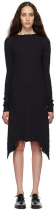 Helmut Lang Navy Fine Wool Rib Dress