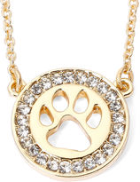 PET FRIENDS Pet Friends Crystal-Accent Paw Print Gold-Tone Circle Necklace