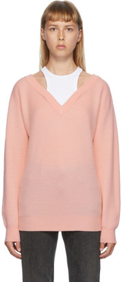 Alexander Wang Pink and White Bi-Layer Off-The-Shoulder Sweater