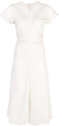 Proenza Schouler Textured Crepe Short Sleeve Dress