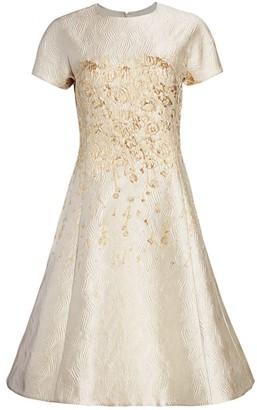 Teri Jon by Rickie Freeman Metallic Cap-Sleeve Sea Jacquard A-Line Dress