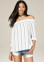 Bebe Striped Back Button Up Top