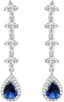 clear Lavencious Sapphire Elegance Tear Drop Dangle Earrings AAA CZ Luxury Jewelry Wedding Bridal Party Prom Open Design (Dark Blue)