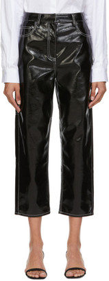 Tibi Black Faux-Leather Cropped Carpenter Trousers