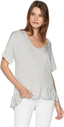 Ellen Tracy Women's Knit Top W/Flouncy Hem