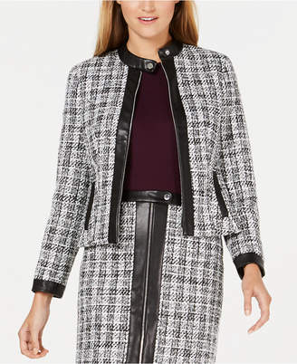 Calvin Klein Tweed Zip-Up Jacket With Faux-Leather Trim