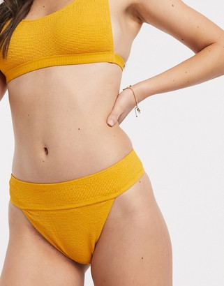 Topshop textured bikini bottoms with high waist in orange