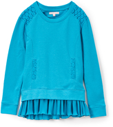 Celebrity Pink Blue Lace & Chiffon Layered French Terry Pullover - Girls
