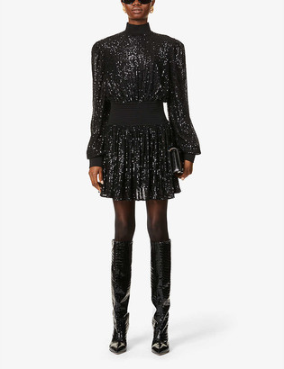 Balmain Puff-sleeve sequin-embellished mini dress