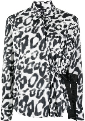 Just Cavalli Leopard Print Side Tie Shirt